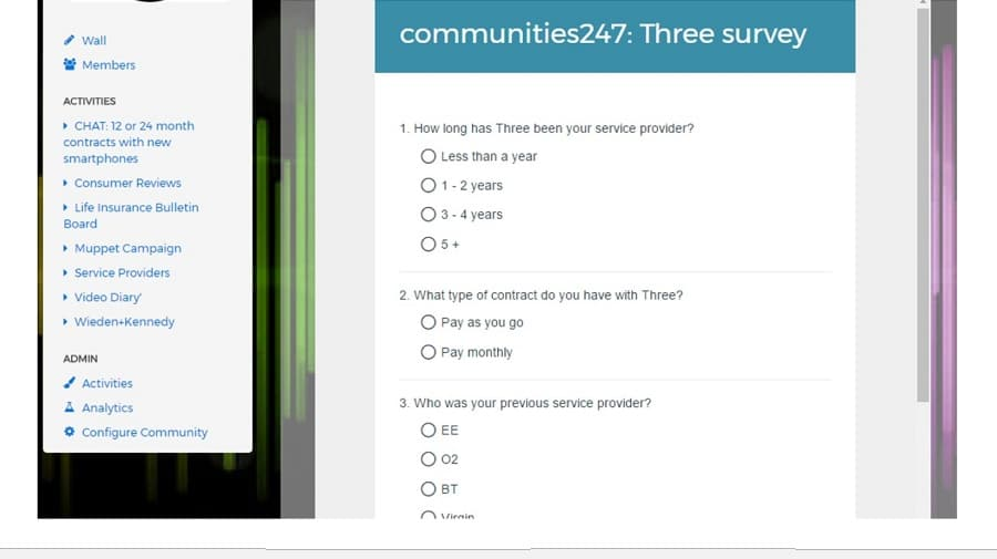 Using a survey within the Communities247 platform