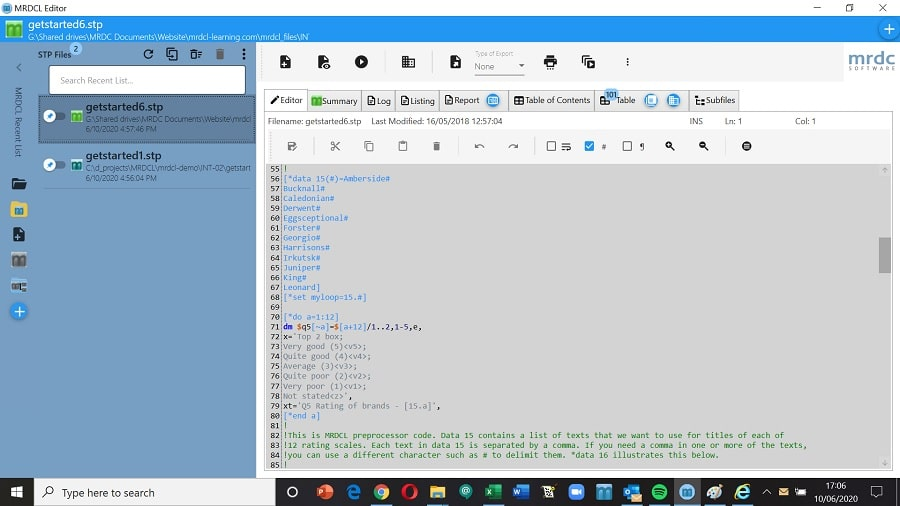 Use the colour coded editor in MRDCL