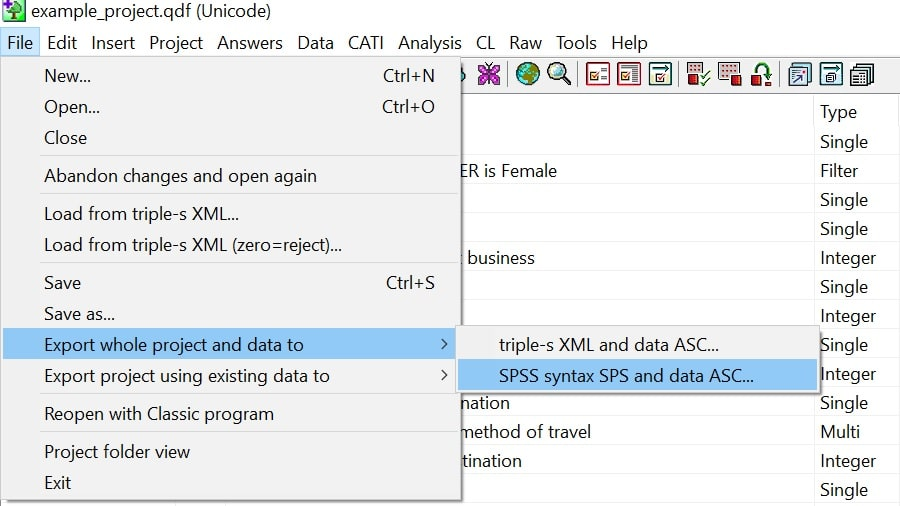Export data from QPSMR to other formats