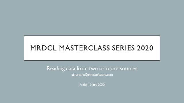 MRDCL masterclass reading from two or more sources