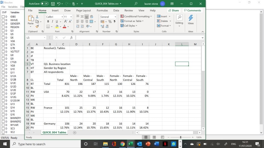 Generating tables in Resolve