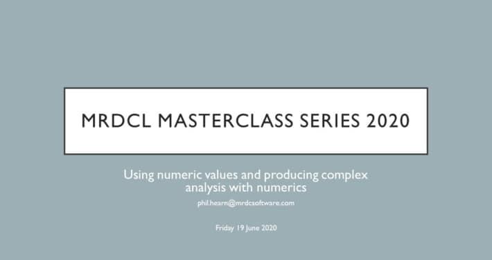 MRDCL Masterclass understanding numerics